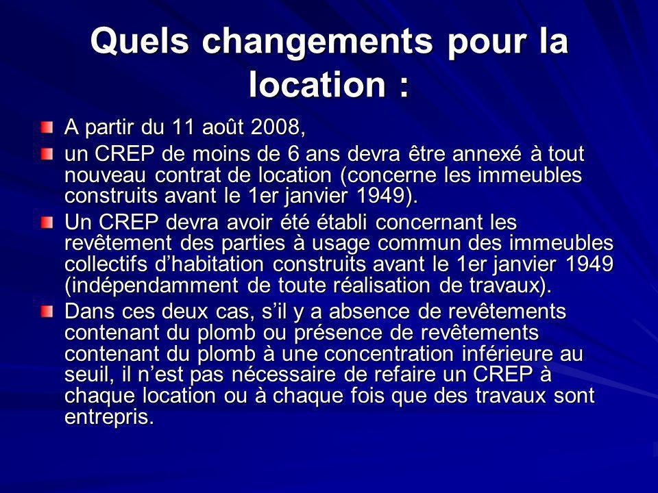 Quels changements pour la location : A partir du 11 août 2008, un CREP de moins de 6 ans devra être annexé à tout nouveau contrat de location (concern