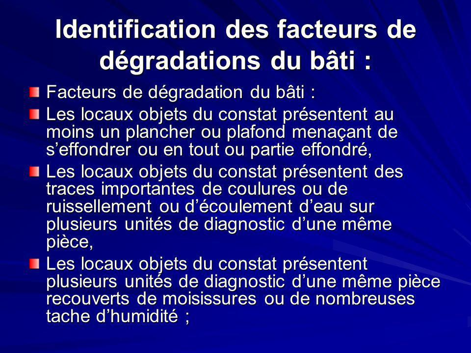Identification des facteurs de dégradations du bâti : Facteurs de dégradation du bâti : Les locaux objets du constat présentent au moins un plancher o
