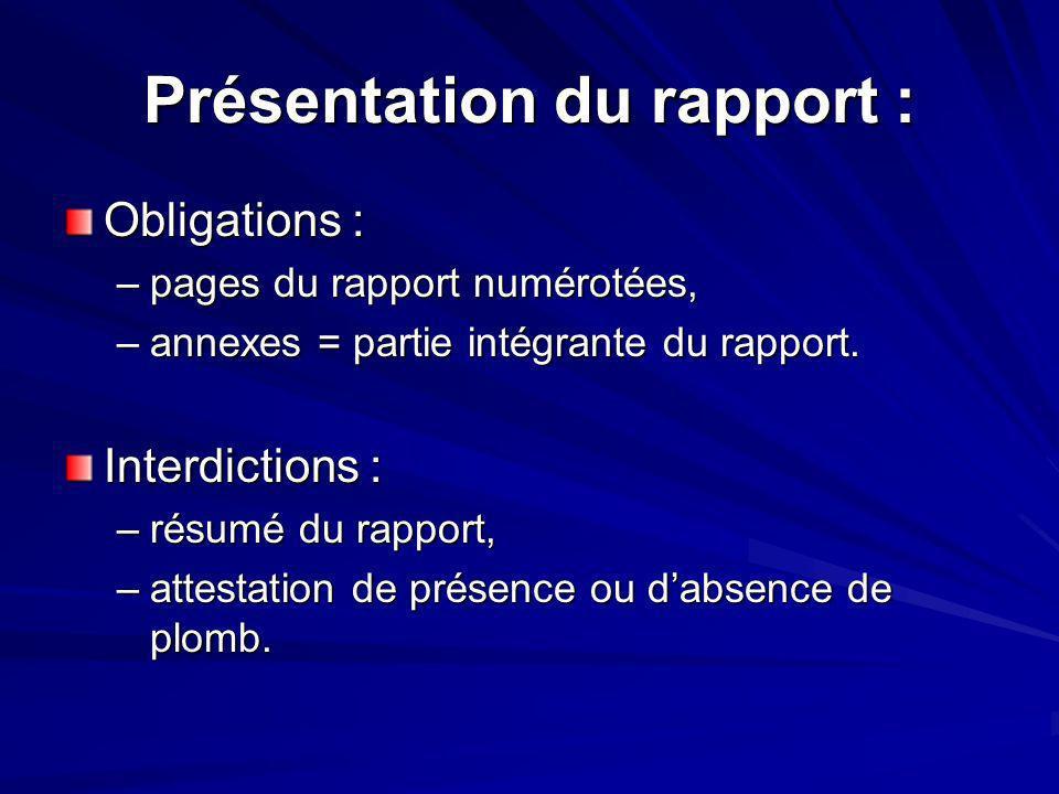 Présentation du rapport : Obligations : –pages du rapport numérotées, –annexes = partie intégrante du rapport. Interdictions : –résumé du rapport, –at