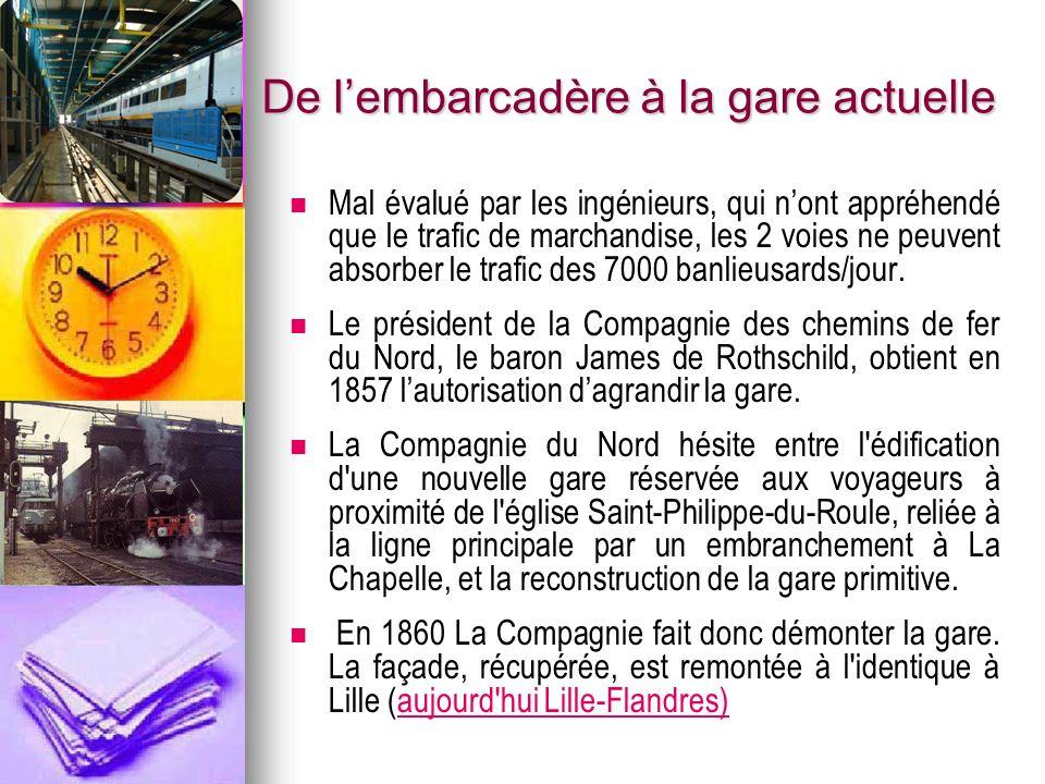 De lembarcadère à la gare actuelle Mal évalué par les ingénieurs, qui nont appréhendé que le trafic de marchandise, les 2 voies ne peuvent absorber le trafic des 7000 banlieusards/jour.