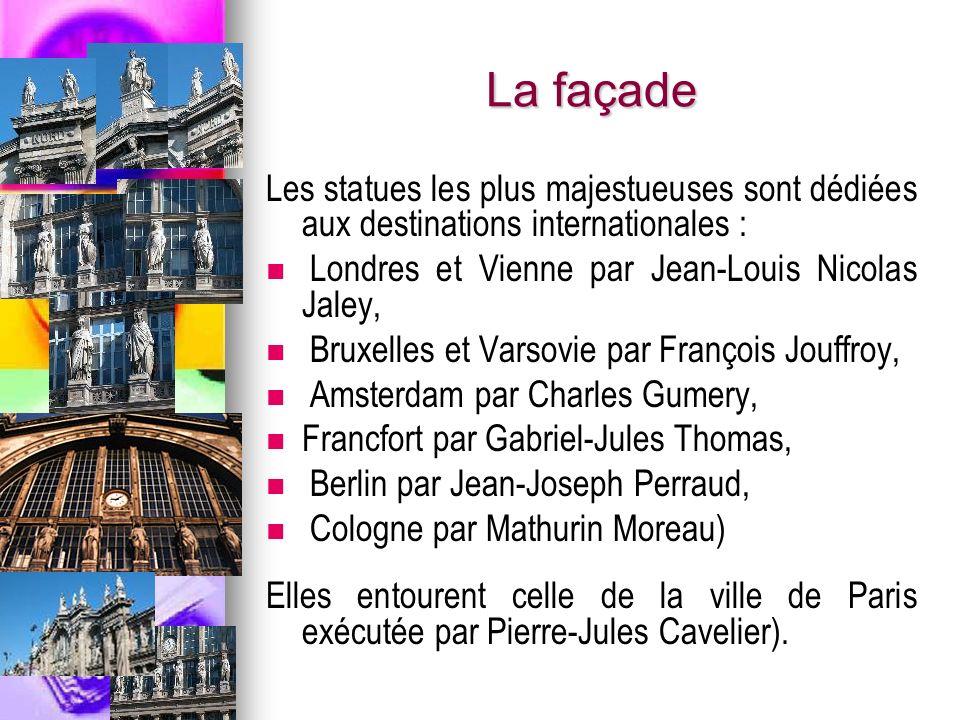 La façade Les statues les plus majestueuses sont dédiées aux destinations internationales : Londres et Vienne par Jean-Louis Nicolas Jaley, Bruxelles