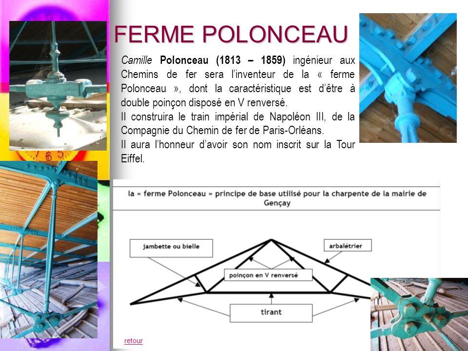 FERME POLONCEAU Camille Polonceau (1813 – 1859) ingénieur aux Chemins de fer sera linventeur de la « ferme Polonceau », dont la caractéristique est dêtre à double poinçon disposé en V renversé.