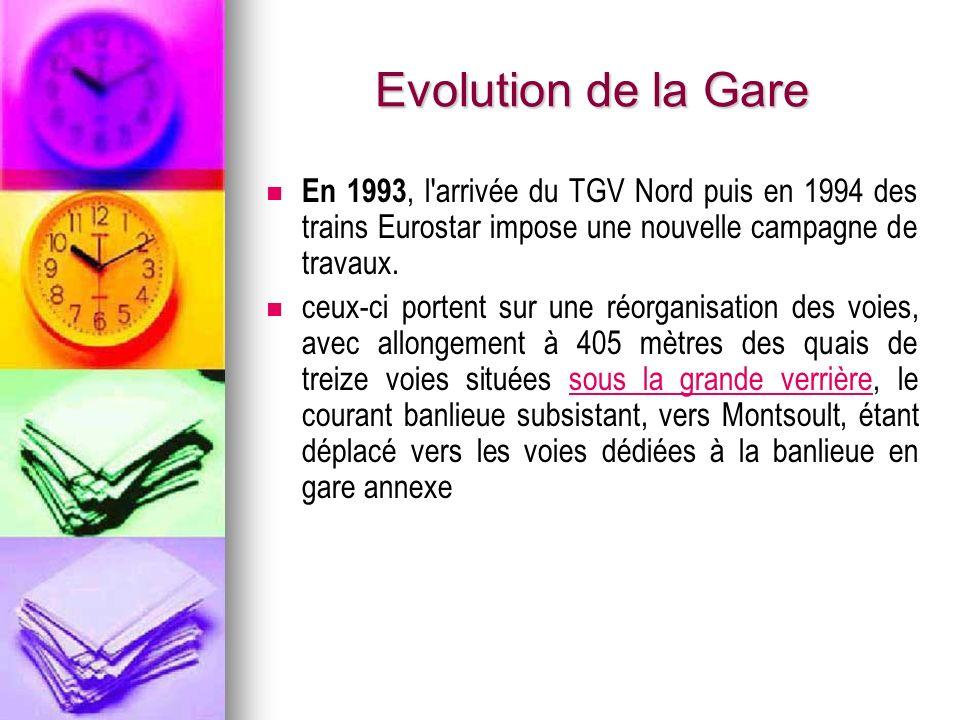 Evolution de la Gare En 1993, l'arrivée du TGV Nord puis en 1994 des trains Eurostar impose une nouvelle campagne de travaux. ceux-ci portent sur une
