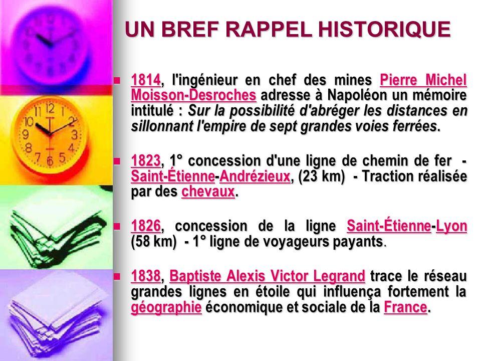 1814, l ingénieur en chef des mines Pierre Michel Moisson-Desroches adresse à Napoléon un mémoire intitulé : Sur la possibilité d abréger les distances en sillonnant l empire de sept grandes voies ferrées.