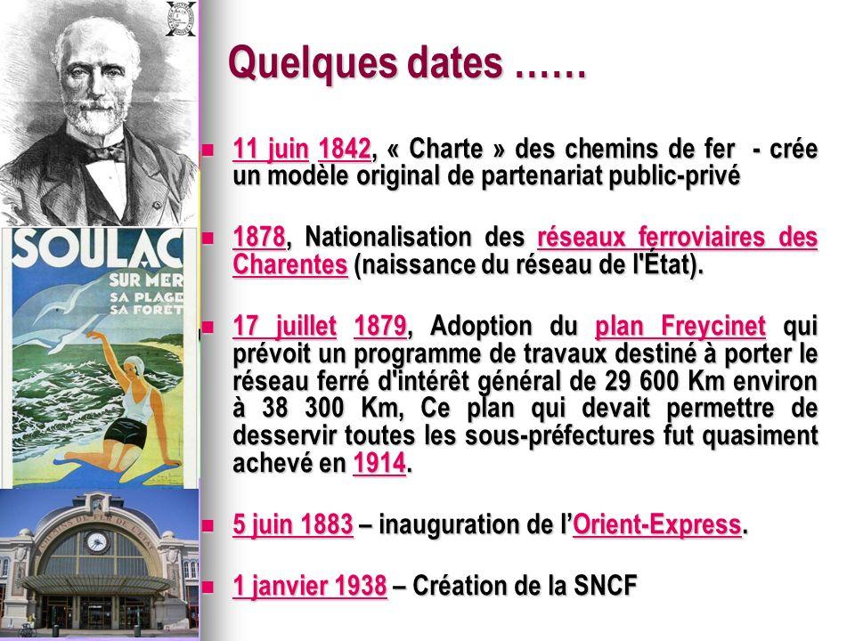 Quelques dates …… 11 juin 1842, « Charte » des chemins de fer - crée un modèle original de partenariat public-privé 11 juin 1842, « Charte » des chemins de fer - crée un modèle original de partenariat public-privé 11 juin1842 11 juin1842 1878, Nationalisation des réseaux ferroviaires des Charentes (naissance du réseau de l État).
