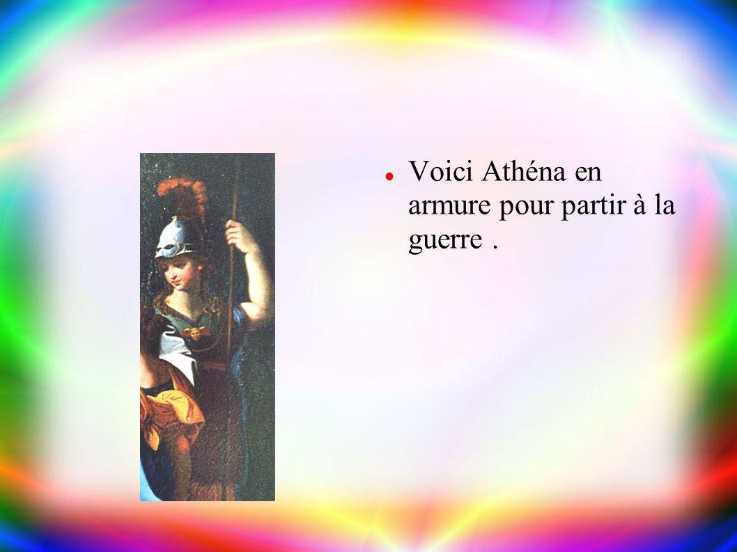 Athéna Athéna est la fille de Zeus et Métis (sa première épouse ). Elle est la déesse de l'intelligence, de la sagesse (qu'elle tient de sa mère ) et