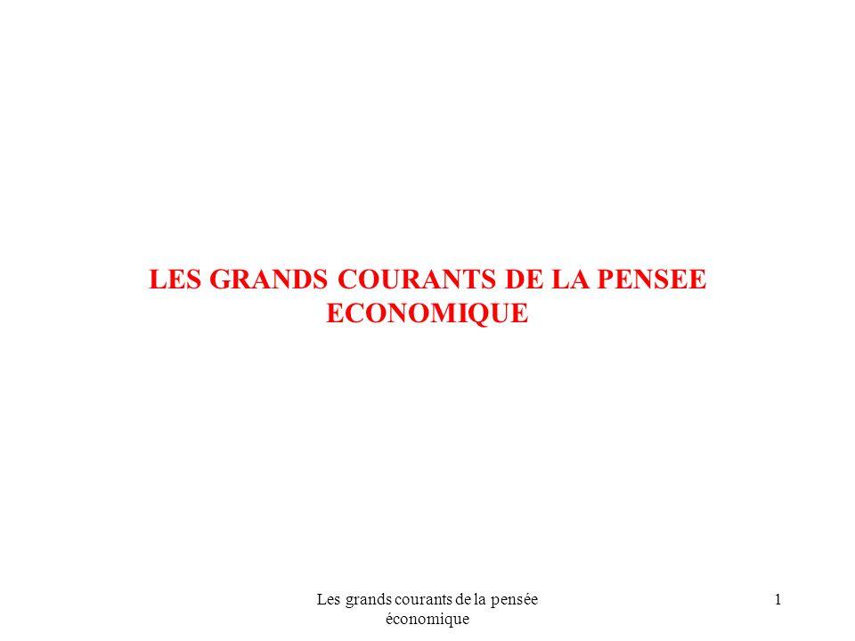 Les grands courants de la pensée économique 1 LES GRANDS COURANTS DE LA PENSEE ECONOMIQUE