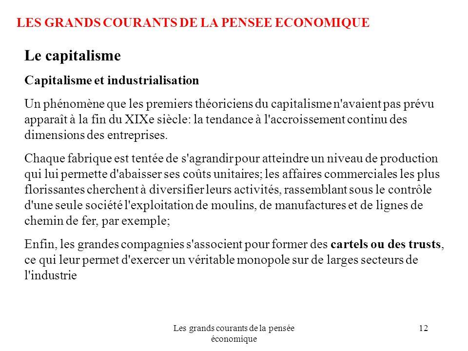 Les grands courants de la pensée économique 12 LES GRANDS COURANTS DE LA PENSEE ECONOMIQUE Le capitalisme Capitalisme et industrialisation Un phénomèn