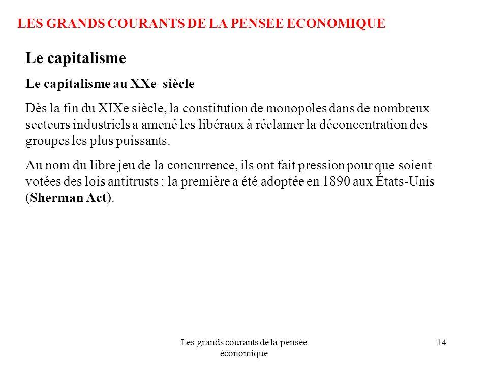 Les grands courants de la pensée économique 14 LES GRANDS COURANTS DE LA PENSEE ECONOMIQUE Le capitalisme Le capitalisme au XXe siècle Dès la fin du X