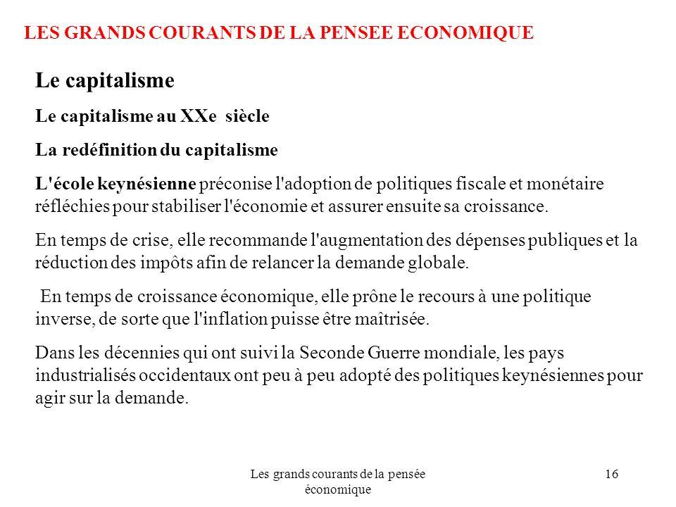 Les grands courants de la pensée économique 16 LES GRANDS COURANTS DE LA PENSEE ECONOMIQUE Le capitalisme Le capitalisme au XXe siècle La redéfinition