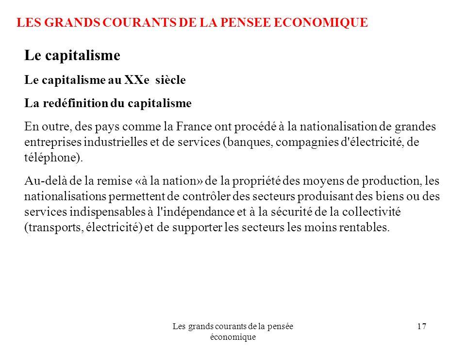 Les grands courants de la pensée économique 17 LES GRANDS COURANTS DE LA PENSEE ECONOMIQUE Le capitalisme Le capitalisme au XXe siècle La redéfinition