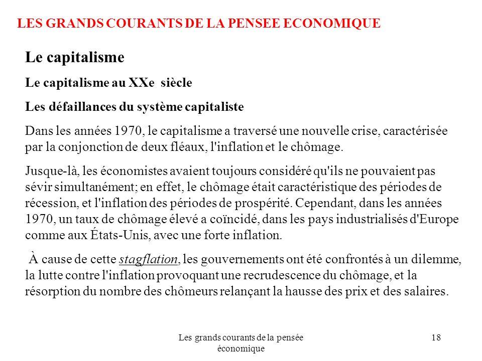 Les grands courants de la pensée économique 18 LES GRANDS COURANTS DE LA PENSEE ECONOMIQUE Le capitalisme Le capitalisme au XXe siècle Les défaillance