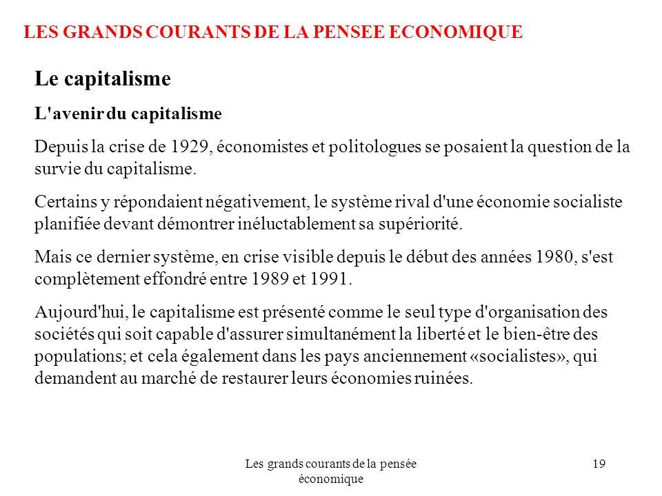 Les grands courants de la pensée économique 19 LES GRANDS COURANTS DE LA PENSEE ECONOMIQUE Le capitalisme L'avenir du capitalisme Depuis la crise de 1