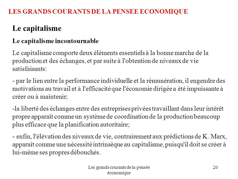 Les grands courants de la pensée économique 20 LES GRANDS COURANTS DE LA PENSEE ECONOMIQUE Le capitalisme Le capitalisme incontournable Le capitalisme