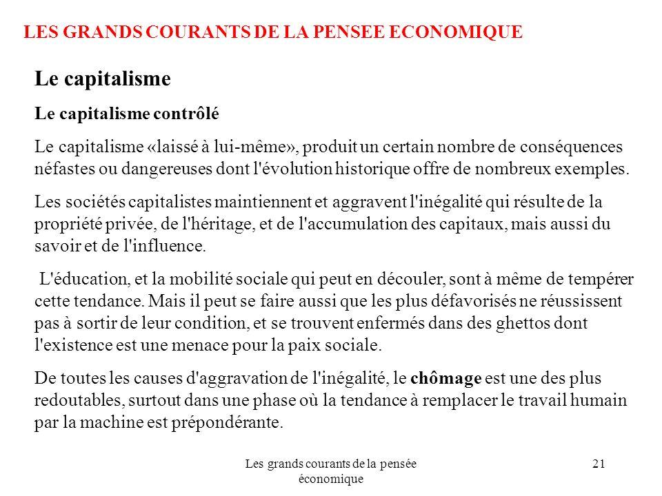 Les grands courants de la pensée économique 21 LES GRANDS COURANTS DE LA PENSEE ECONOMIQUE Le capitalisme Le capitalisme contrôlé Le capitalisme «lais