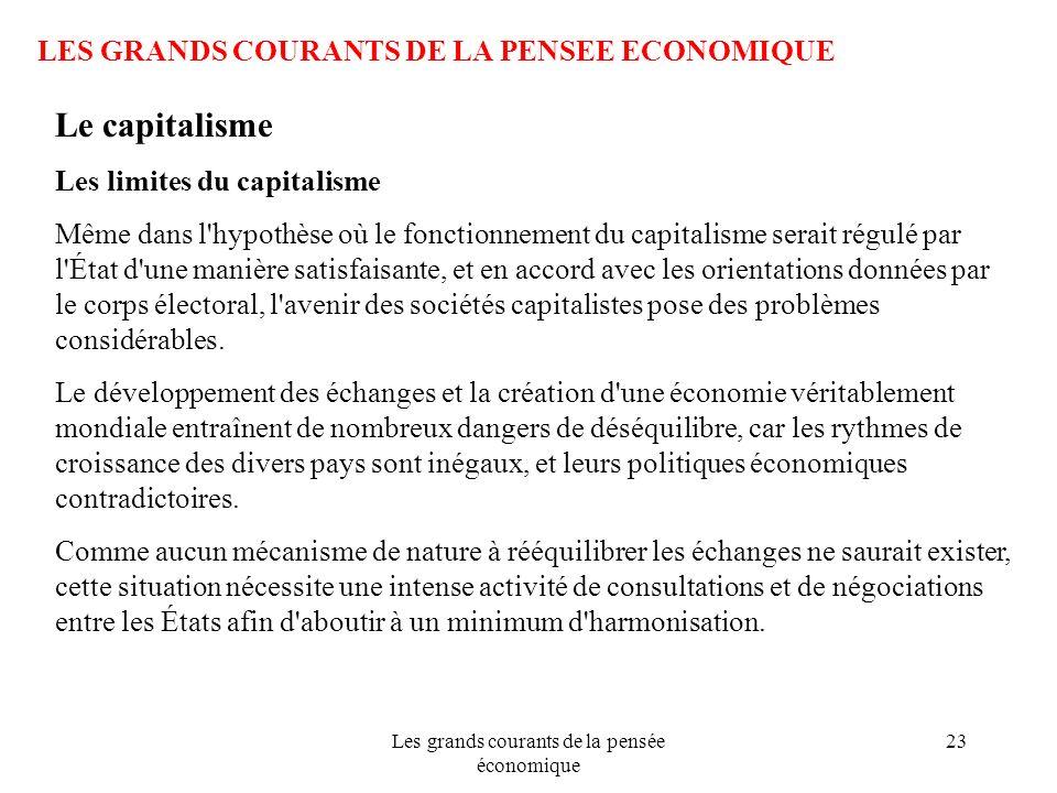 Les grands courants de la pensée économique 23 LES GRANDS COURANTS DE LA PENSEE ECONOMIQUE Le capitalisme Les limites du capitalisme Même dans l'hypot
