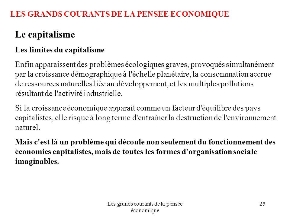 Les grands courants de la pensée économique 25 LES GRANDS COURANTS DE LA PENSEE ECONOMIQUE Le capitalisme Les limites du capitalisme Enfin apparaissen