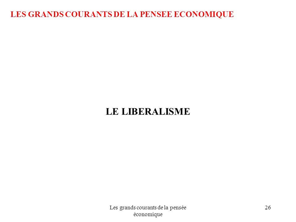 Les grands courants de la pensée économique 26 LES GRANDS COURANTS DE LA PENSEE ECONOMIQUE LE LIBERALISME