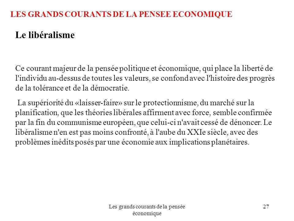 Les grands courants de la pensée économique 27 LES GRANDS COURANTS DE LA PENSEE ECONOMIQUE Le libéralisme Ce courant majeur de la pensée politique et