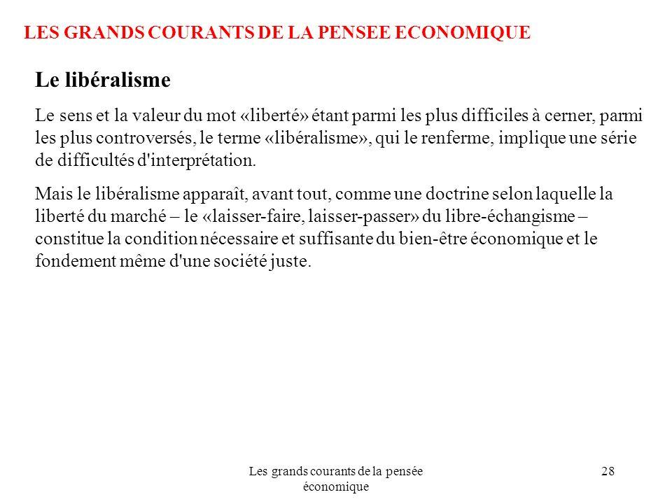 Les grands courants de la pensée économique 28 LES GRANDS COURANTS DE LA PENSEE ECONOMIQUE Le libéralisme Le sens et la valeur du mot «liberté» étant