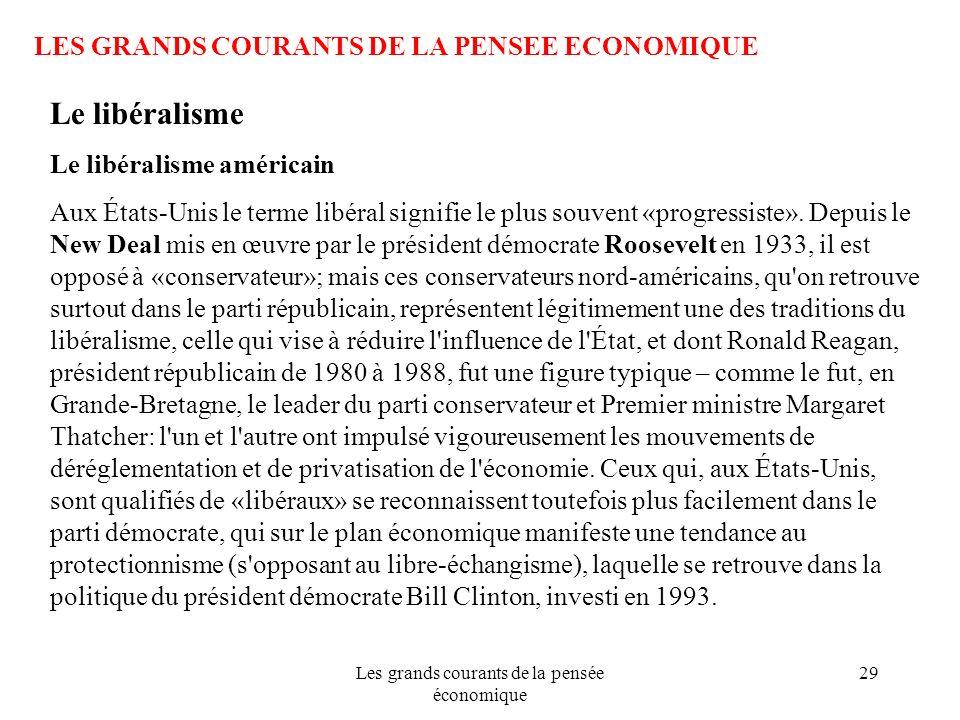 Les grands courants de la pensée économique 29 LES GRANDS COURANTS DE LA PENSEE ECONOMIQUE Le libéralisme Le libéralisme américain Aux États-Unis le t