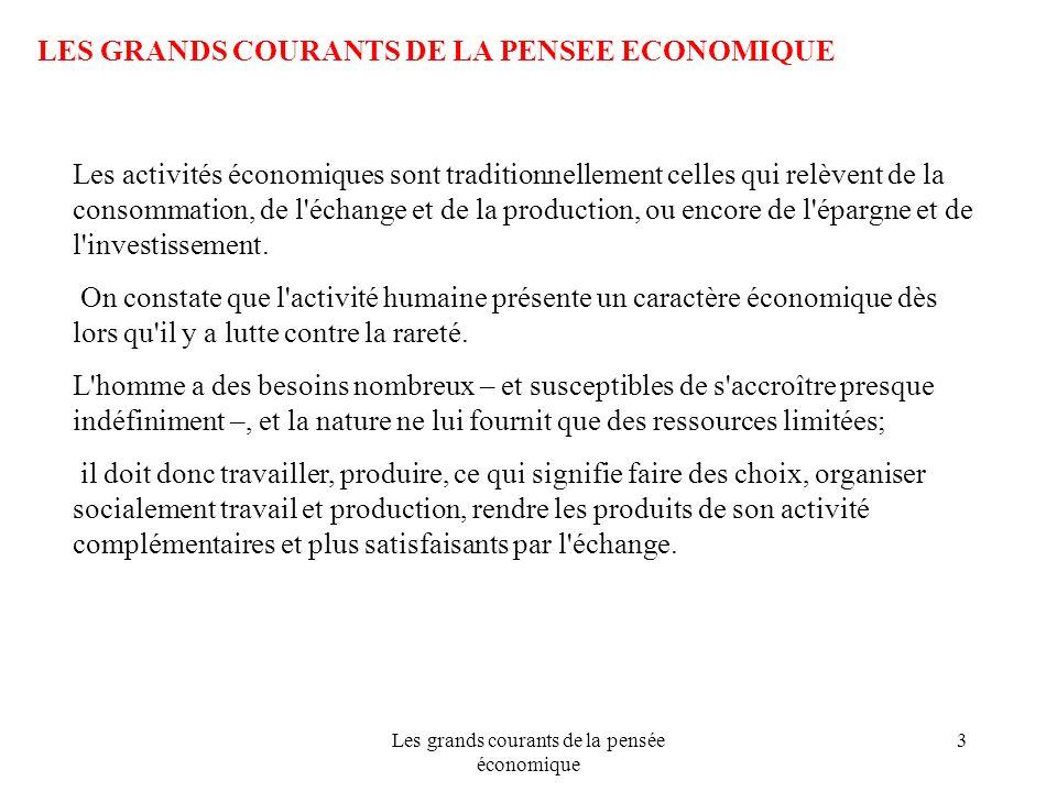 Les grands courants de la pensée économique 3 LES GRANDS COURANTS DE LA PENSEE ECONOMIQUE Les activités économiques sont traditionnellement celles qui