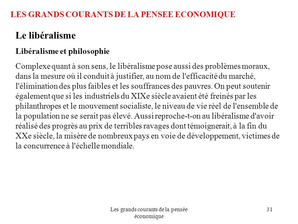 Les grands courants de la pensée économique 31 LES GRANDS COURANTS DE LA PENSEE ECONOMIQUE Le libéralisme Libéralisme et philosophie Complexe quant à