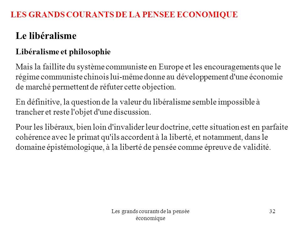 Les grands courants de la pensée économique 32 LES GRANDS COURANTS DE LA PENSEE ECONOMIQUE Le libéralisme Libéralisme et philosophie Mais la faillite
