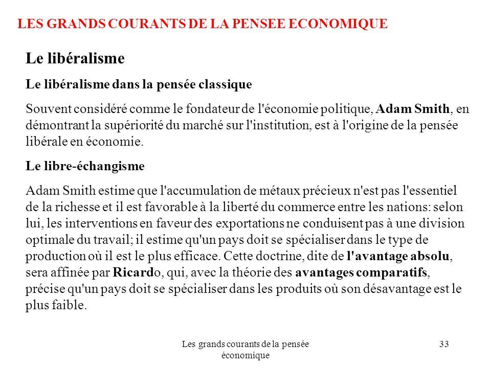 Les grands courants de la pensée économique 33 LES GRANDS COURANTS DE LA PENSEE ECONOMIQUE Le libéralisme Le libéralisme dans la pensée classique Souv