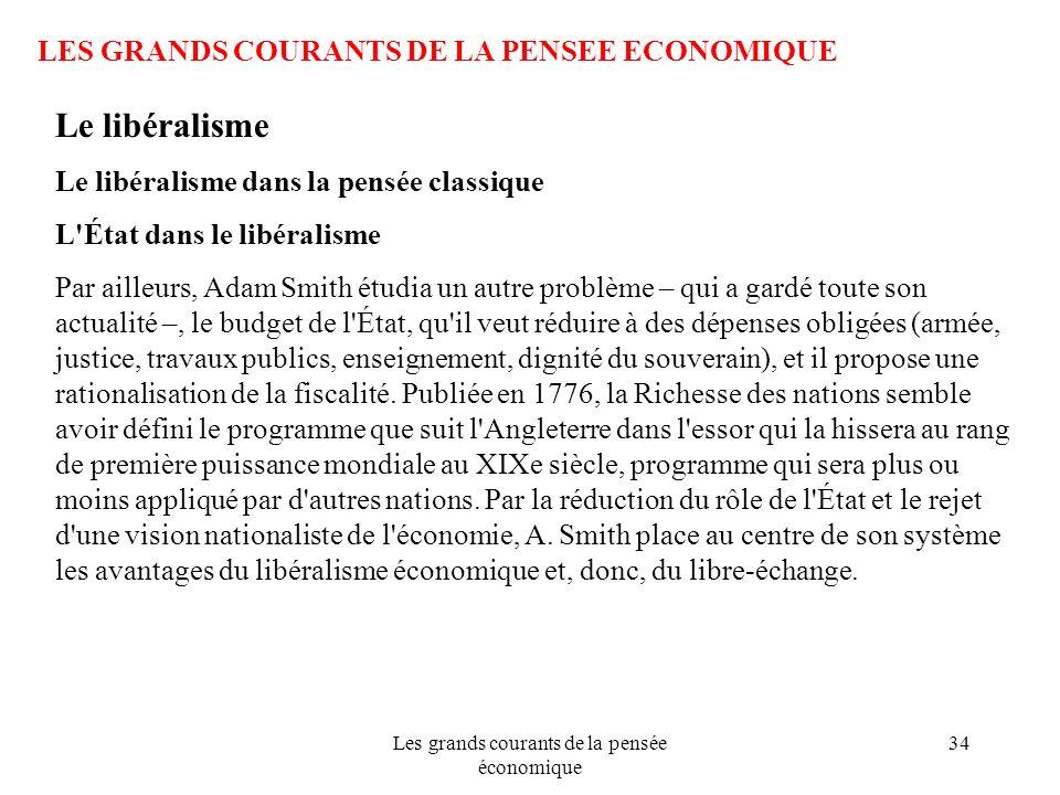 Les grands courants de la pensée économique 34 LES GRANDS COURANTS DE LA PENSEE ECONOMIQUE Le libéralisme Le libéralisme dans la pensée classique L'Ét