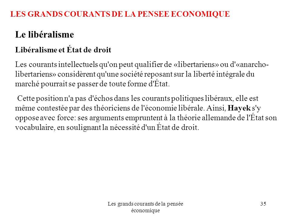 Les grands courants de la pensée économique 35 LES GRANDS COURANTS DE LA PENSEE ECONOMIQUE Le libéralisme Libéralisme et État de droit Les courants in
