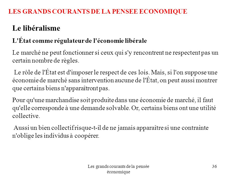 Les grands courants de la pensée économique 36 LES GRANDS COURANTS DE LA PENSEE ECONOMIQUE Le libéralisme L'État comme régulateur de l'économie libéra