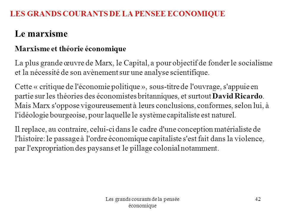 Les grands courants de la pensée économique 42 LES GRANDS COURANTS DE LA PENSEE ECONOMIQUE Le marxisme Marxisme et théorie économique La plus grande œ