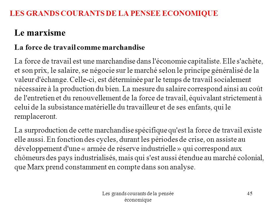 Les grands courants de la pensée économique 45 LES GRANDS COURANTS DE LA PENSEE ECONOMIQUE Le marxisme La force de travail comme marchandise La force