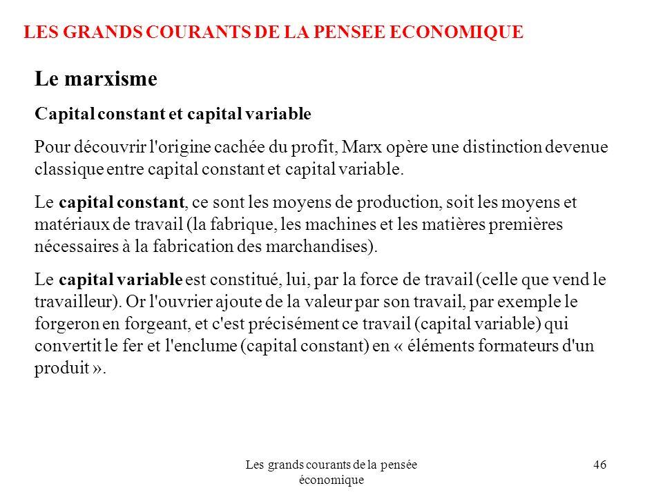 Les grands courants de la pensée économique 46 LES GRANDS COURANTS DE LA PENSEE ECONOMIQUE Le marxisme Capital constant et capital variable Pour décou