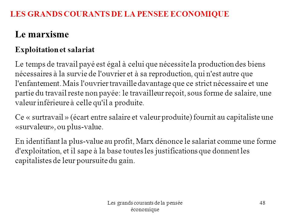 Les grands courants de la pensée économique 48 LES GRANDS COURANTS DE LA PENSEE ECONOMIQUE Le marxisme Exploitation et salariat Le temps de travail pa