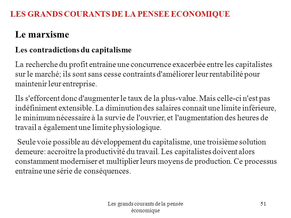 Les grands courants de la pensée économique 51 LES GRANDS COURANTS DE LA PENSEE ECONOMIQUE Le marxisme Les contradictions du capitalisme La recherche