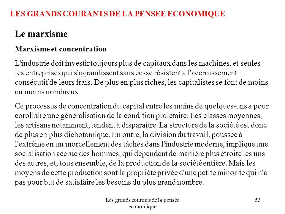Les grands courants de la pensée économique 53 LES GRANDS COURANTS DE LA PENSEE ECONOMIQUE Le marxisme Marxisme et concentration L'industrie doit inve