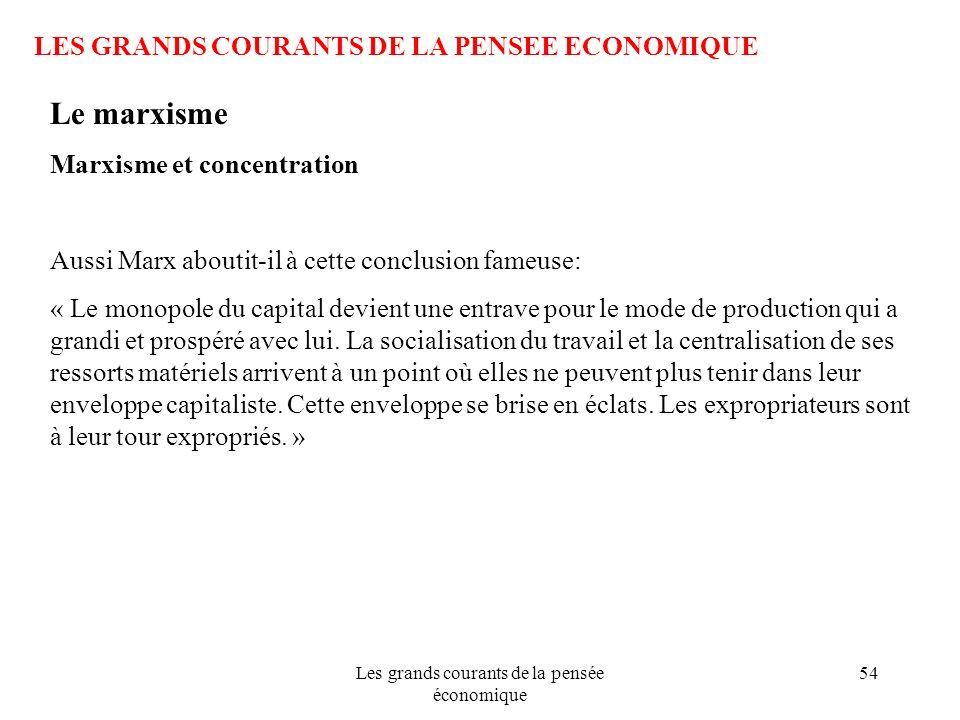 Les grands courants de la pensée économique 54 LES GRANDS COURANTS DE LA PENSEE ECONOMIQUE Le marxisme Marxisme et concentration Aussi Marx aboutit-il