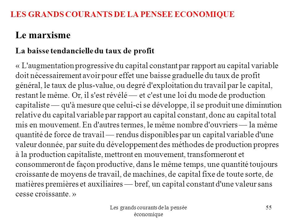 Les grands courants de la pensée économique 55 LES GRANDS COURANTS DE LA PENSEE ECONOMIQUE Le marxisme La baisse tendancielle du taux de profit « L'au