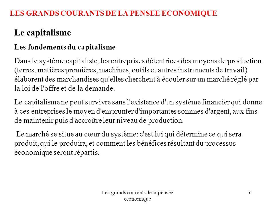 Les grands courants de la pensée économique 6 LES GRANDS COURANTS DE LA PENSEE ECONOMIQUE Le capitalisme Les fondements du capitalisme Dans le système