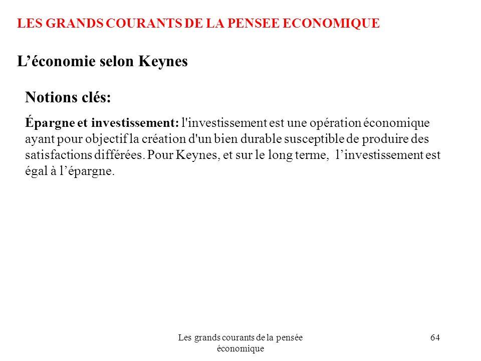Les grands courants de la pensée économique 64 LES GRANDS COURANTS DE LA PENSEE ECONOMIQUE Léconomie selon Keynes Notions clés: Épargne et investissem
