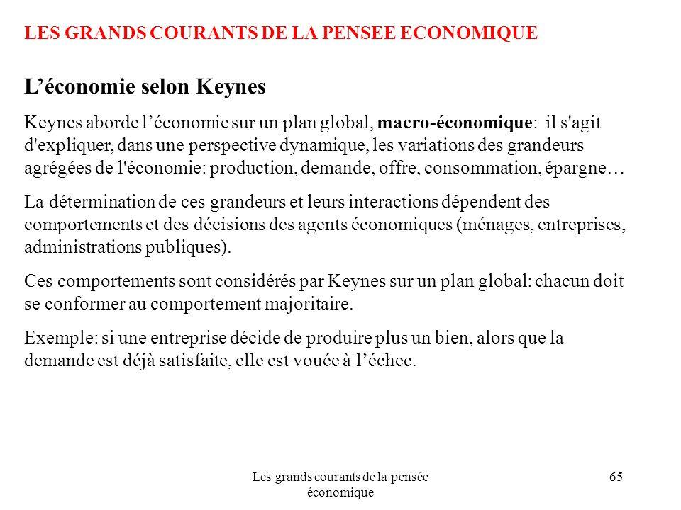 Les grands courants de la pensée économique 65 LES GRANDS COURANTS DE LA PENSEE ECONOMIQUE Léconomie selon Keynes Keynes aborde léconomie sur un plan
