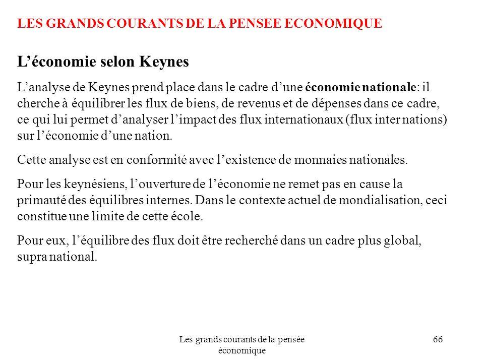 Les grands courants de la pensée économique 66 LES GRANDS COURANTS DE LA PENSEE ECONOMIQUE Léconomie selon Keynes Lanalyse de Keynes prend place dans