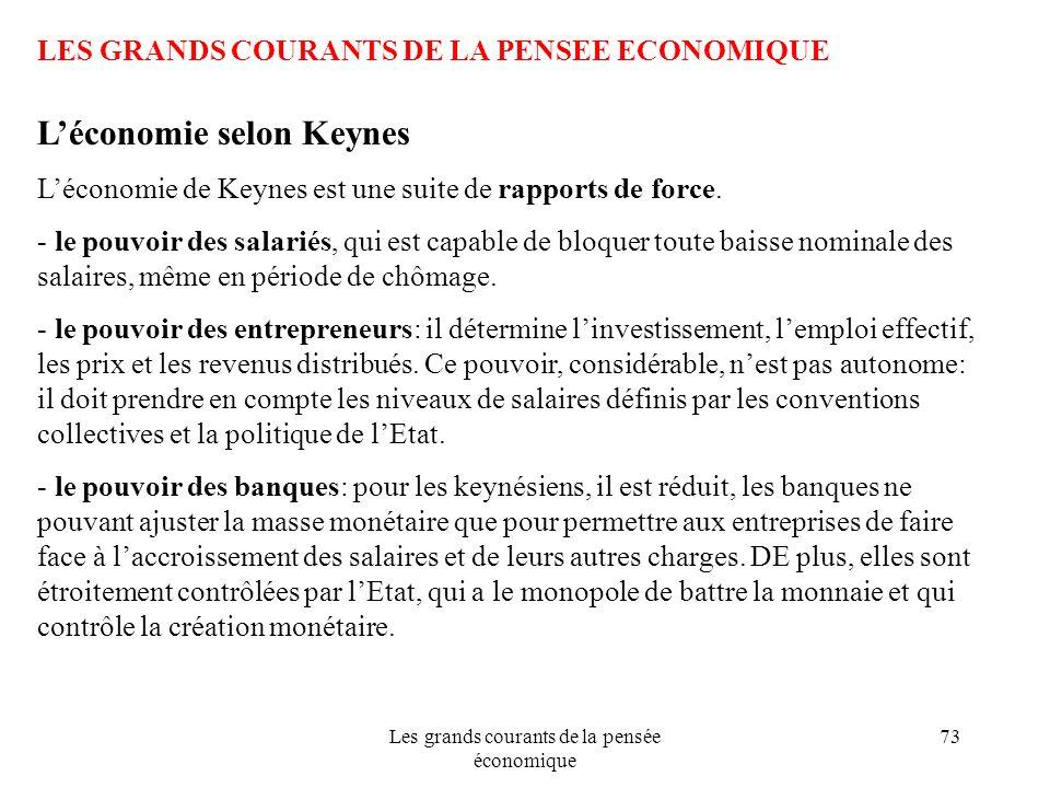 Les grands courants de la pensée économique 73 LES GRANDS COURANTS DE LA PENSEE ECONOMIQUE Léconomie selon Keynes Léconomie de Keynes est une suite de