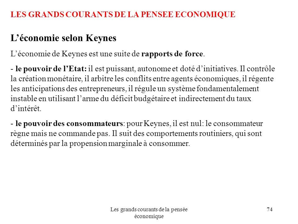 Les grands courants de la pensée économique 74 LES GRANDS COURANTS DE LA PENSEE ECONOMIQUE Léconomie selon Keynes Léconomie de Keynes est une suite de