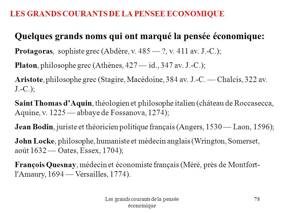 Les grands courants de la pensée économique 78 LES GRANDS COURANTS DE LA PENSEE ECONOMIQUE Quelques grands noms qui ont marqué la pensée économique: P