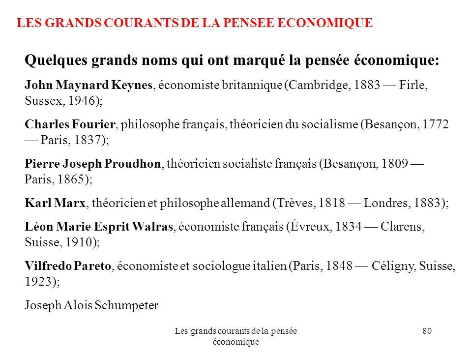 Les grands courants de la pensée économique 80 LES GRANDS COURANTS DE LA PENSEE ECONOMIQUE Quelques grands noms qui ont marqué la pensée économique: J
