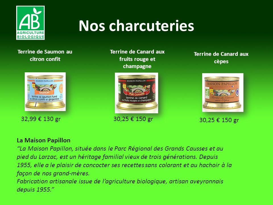 Nos charcuteries Terrine de Saumon au citron confit 32,99 130 gr Terrine de Canard aux fruits rouge et champagne 30,25 150 gr Terrine de Canard aux cè