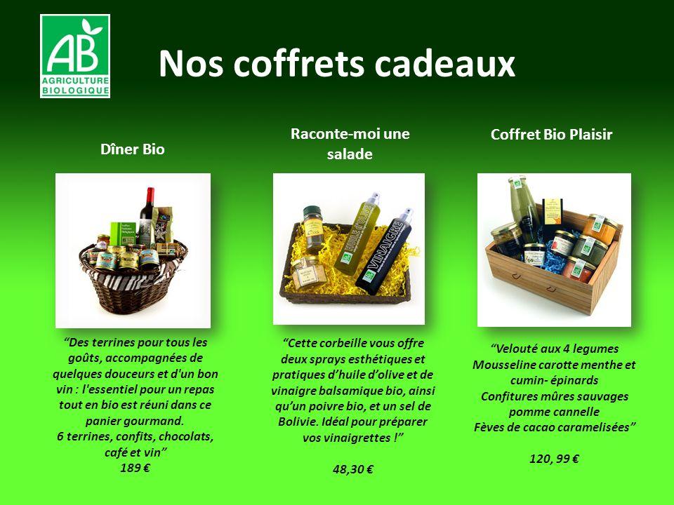 Nos coffrets cadeaux Dîner Bio Velouté aux 4 legumes Mousseline carotte menthe et cumin- épinards Confitures mûres sauvages pomme cannelle Fèves de ca